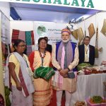 The Prime Minister, Shri Narendra Modi visiting the women Self Help Group stalls, at exhibition on achievements of North East, in Shillong on May 27, 2016.
